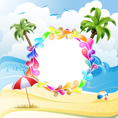 Frame with jelly shapes over summer beach