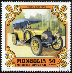 stamp printed by Mongolia, shows RUSSO-BALT 1909 old car