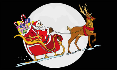 Santa Claus in front of the moon