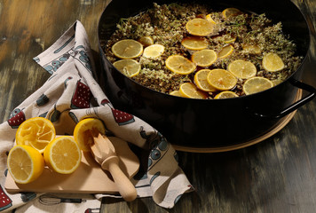Making the Elderflower cordial - third step
