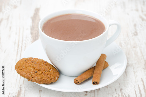 cup of cocoa with cinnamon and oatmeal cookies