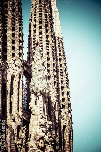 The Sagrada Familia cathedral in Barcelona,Spain