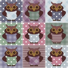 patchwork background with owls