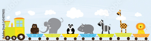 Train with animals on colorful background- vector illustration
