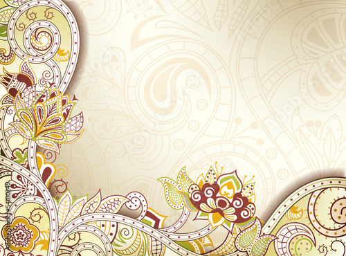 Abstract Yellow Floral Background