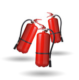 fire extinguishers in the air on white background