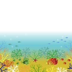 Underwater world. Vector background with place for text.