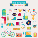 Hipster style elements and icons set for retro design.