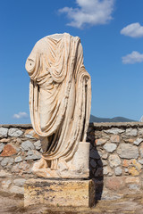 Roman era statue in Eleusis archaeological site, Greece
