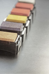detailed view on beautifully colored stamping pads aligned