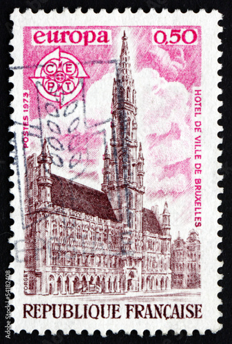 Postage stamp France 1973 City Hall, Brussels
