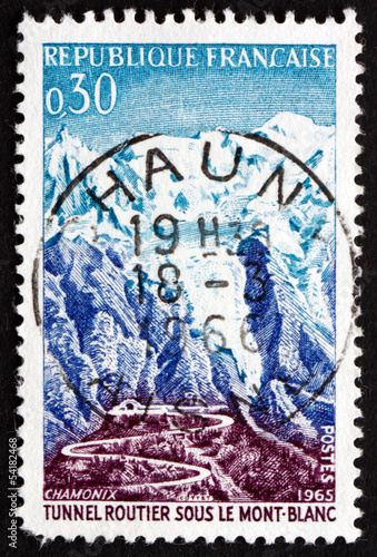Postage stamp France 1965 Road and Tunnel, Mont Blanc