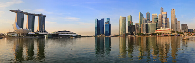 panorama of Singapore skyline at Marina Bay in the morning