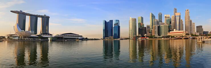 panorama of Singapore skyline at Marina Bay in the morning