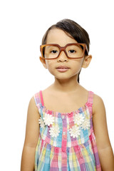 Happy Little Girl Wearing Glasses