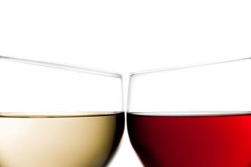 cheers, closeup of two glasses of red wine and white wine
