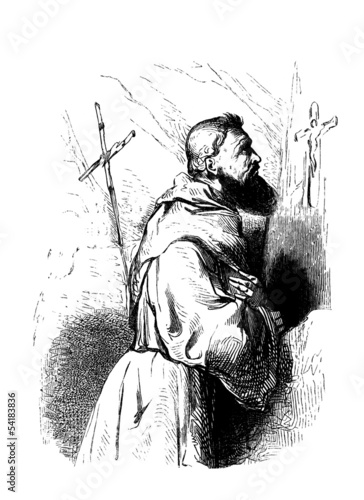 Medieval Monk praying - Moine priant