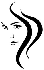 Vector Girl Face and Hair