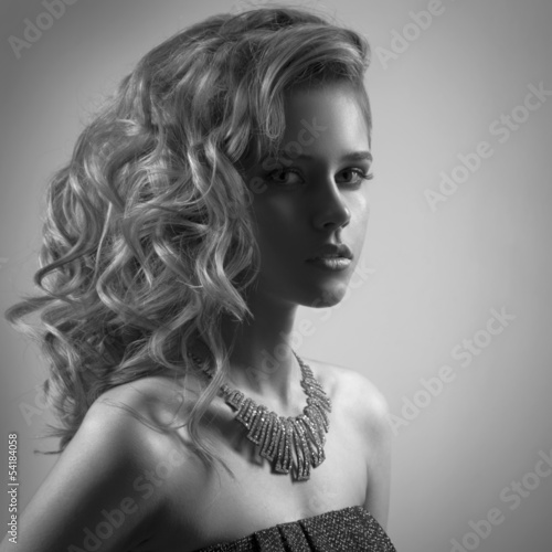 Fashion Portrait Of Woman With Jewelry. BW Image