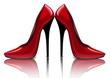 Постер, плакат: Яркие красные туфли векторный рисунок