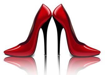 Яркие красные туфли, векторный рисунок