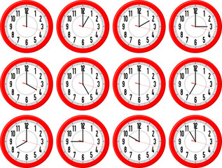 clocks hours vector
