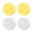 Gold and silver colored rouble coins