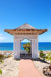 Sea view hut and beach at luxury hotel, Tenerife island, Spain