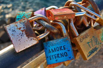 Locks expressing the feeling of eternal love 'amore eterno'