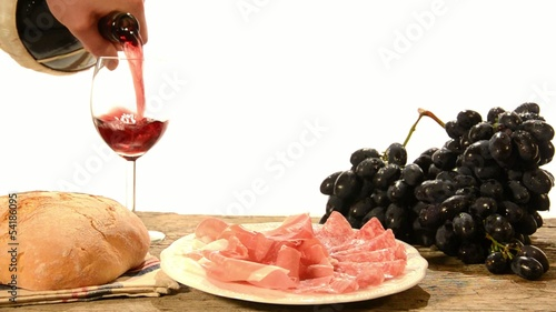 red wine, ham and salami