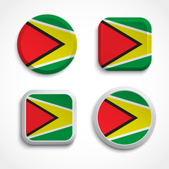 Guyana flag buttons