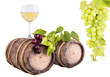 grapes with wine glass and wooden vintage barrel