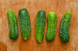 Cucumber in a row on the table