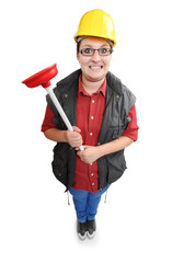 Funny repairman with red toilet plunger.