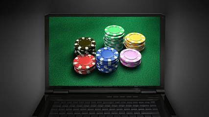 gambling chip is display on laptop screen