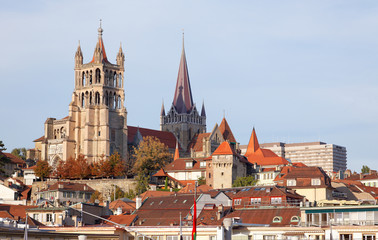 City landscape of Lausanne in the west of Switzerland