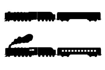 Steam locomotive and rail car silhouette