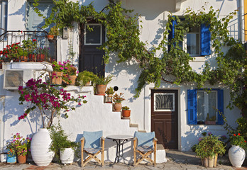 Greek traditional house at Parga town in Greece