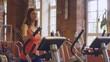 HD720p50 Young woman exercising at a gym.