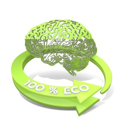 Illustration of a thinking brain sign  a 100 percent eco