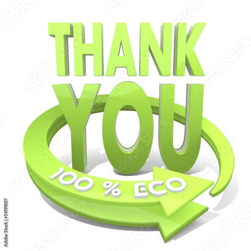 3d render of a environmental thank you icon  a 100 percent eco