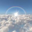 雲海と太陽と虹