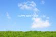 草原と新年イメージ