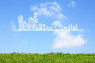 草原と町並みの雲