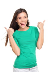 Thumbs up happy excited woman isolated