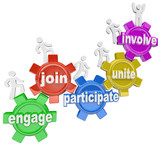 Participate People Climbing Gears Join Engage Involve poster