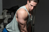 young bodybuilder doing heavy weight exercise for triceps with c poster