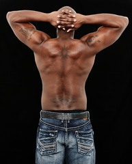 Fit Black Man in Jeans No Shirt