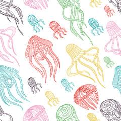 jellyfishes seamless pattern