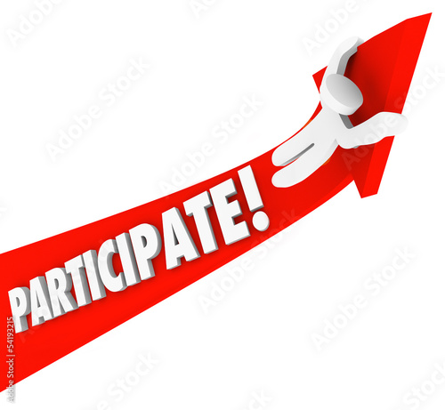 Participate Arrow Person Riding Participation to Success